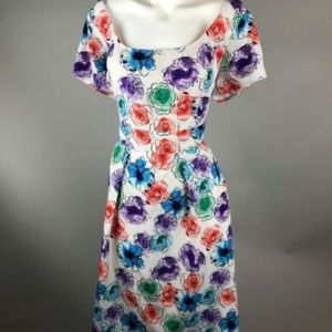 eShakti White Watercolor Floral Short Sleeve Dress